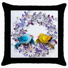 Flowers Floral Flowery Spring Throw Pillow Case (black)