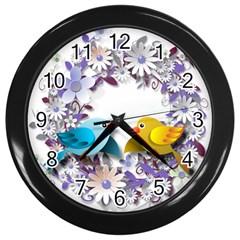 Flowers Floral Flowery Spring Wall Clocks (black)