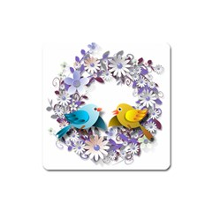 Flowers Floral Flowery Spring Square Magnet