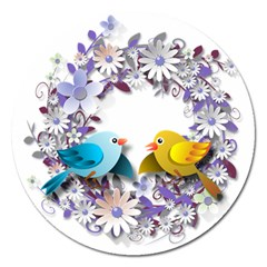 Flowers Floral Flowery Spring Magnet 5  (round)