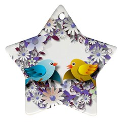 Flowers Floral Flowery Spring Star Ornament (two Sides)