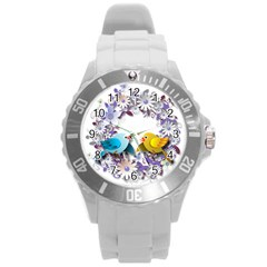 Flowers Floral Flowery Spring Round Plastic Sport Watch (l)