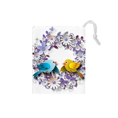 Flowers Floral Flowery Spring Drawstring Pouches (small)