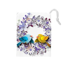 Flowers Floral Flowery Spring Drawstring Pouches (medium)