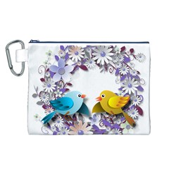 Flowers Floral Flowery Spring Canvas Cosmetic Bag (l)