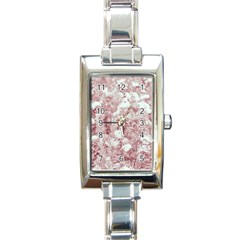 Pink Colored Flowers Rectangle Italian Charm Watch
