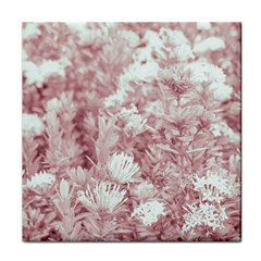 Pink Colored Flowers Tile Coasters