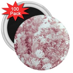 Pink Colored Flowers 3  Magnets (100 Pack)