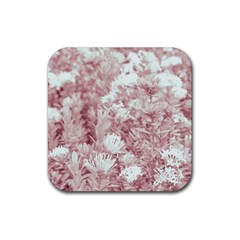 Pink Colored Flowers Rubber Coaster (square)