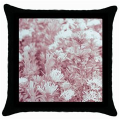 Pink Colored Flowers Throw Pillow Case (black)