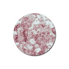 Pink Colored Flowers Rubber Round Coaster (4 Pack)