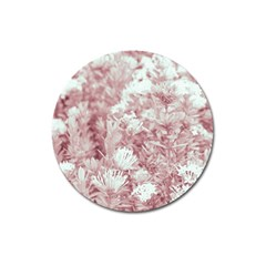 Pink Colored Flowers Magnet 3  (round)