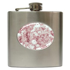 Pink Colored Flowers Hip Flask (6 Oz)