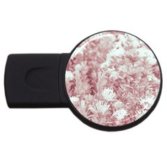 Pink Colored Flowers Usb Flash Drive Round (2 Gb)