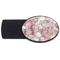Pink Colored Flowers Usb Flash Drive Oval (2 Gb)