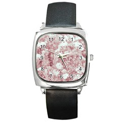 Pink Colored Flowers Square Metal Watch
