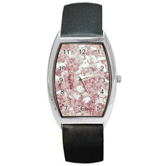 Pink Colored Flowers Barrel Style Metal Watch