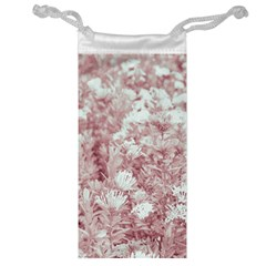 Pink Colored Flowers Jewelry Bag