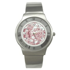 Pink Colored Flowers Stainless Steel Watch