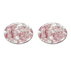 Pink Colored Flowers Cufflinks (oval)