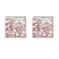 Pink Colored Flowers Cufflinks (square)