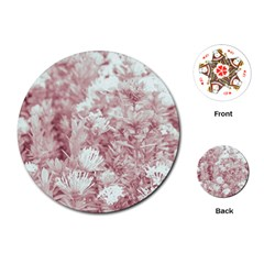 Pink Colored Flowers Playing Cards (round)