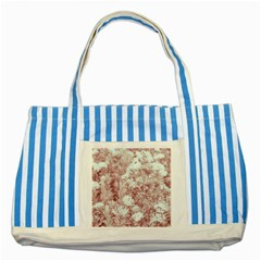 Pink Colored Flowers Striped Blue Tote Bag