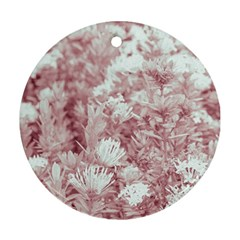 Pink Colored Flowers Round Ornament (two Sides)