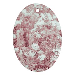 Pink Colored Flowers Oval Ornament (two Sides)