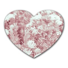 Pink Colored Flowers Heart Mousepads