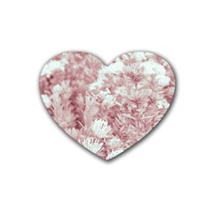 Pink Colored Flowers Heart Coaster (4 Pack)