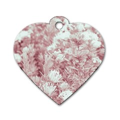 Pink Colored Flowers Dog Tag Heart (one Side)