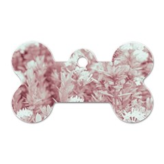 Pink Colored Flowers Dog Tag Bone (one Side)