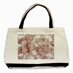 Pink Colored Flowers Basic Tote Bag (two Sides)