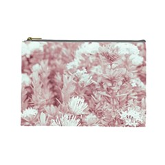Pink Colored Flowers Cosmetic Bag (large)