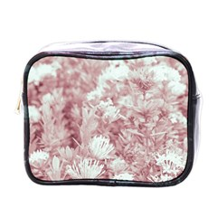 Pink Colored Flowers Mini Toiletries Bags