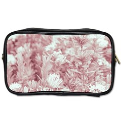 Pink Colored Flowers Toiletries Bags 2 Side
