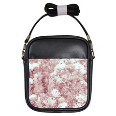 Pink Colored Flowers Girls Sling Bags