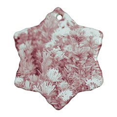Pink Colored Flowers Snowflake Ornament (two Sides)