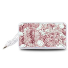 Pink Colored Flowers Portable Speaker (white)
