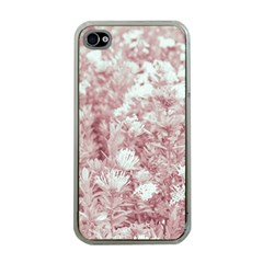 Pink Colored Flowers Apple Iphone 4 Case (clear)