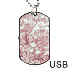 Pink Colored Flowers Dog Tag Usb Flash (two Sides)