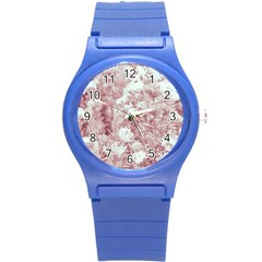 Pink Colored Flowers Round Plastic Sport Watch (s)