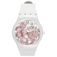 Pink Colored Flowers Round Plastic Sport Watch (m)