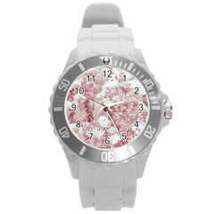 Pink Colored Flowers Round Plastic Sport Watch (l)