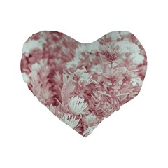 Pink Colored Flowers Standard 16  Premium Heart Shape Cushions