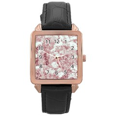 Pink Colored Flowers Rose Gold Leather Watch