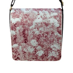 Pink Colored Flowers Flap Messenger Bag (l)