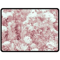 Pink Colored Flowers Double Sided Fleece Blanket (large)