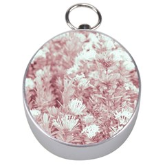 Pink Colored Flowers Silver Compasses